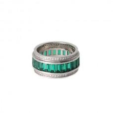 Обручальное кольцо с бриллиантами и изумрудами