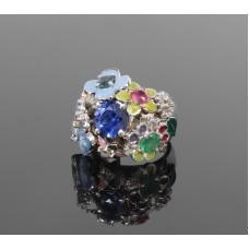 """Золотое кольцо с бриллиантами, сапфирами,изумрудом и рубином """"Элисон"""""""