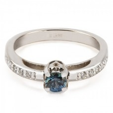 """Золотое кольцо с бриллиантами и сапфиром """"Элеонора"""""""