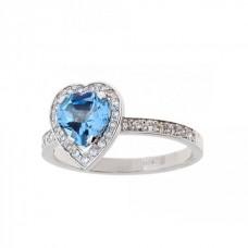 """Золотое кольцо с бриллиантами и сапфиром """"Сердце"""""""