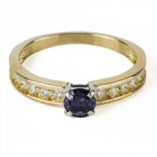"""Золотое кольцо с бриллиантами и сапфиром """"Флора"""""""