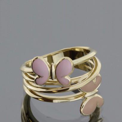 """Золотое кольцо с эмалью """"Баттерфляй"""""""