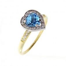 """Золотое кольцо с бриллиантами и топазом """"Сердце"""""""
