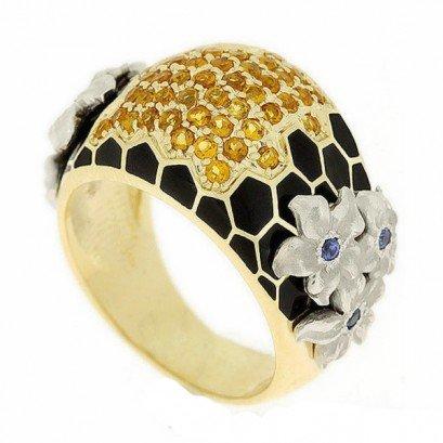 Золотое кольцо с сапфирами и цитринами